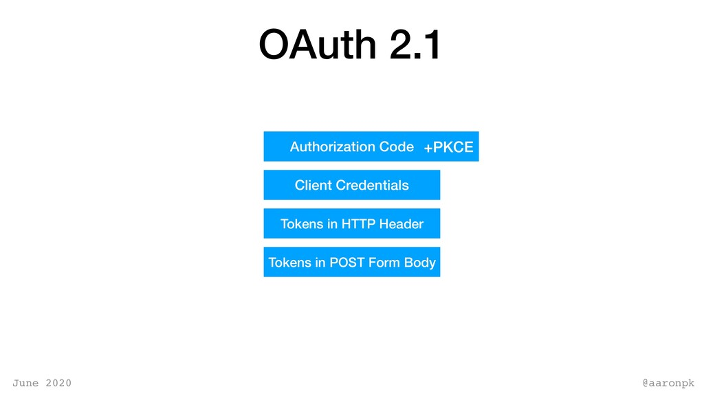 @aaronpk June 2020 OAuth 2.1 Authorization Code...