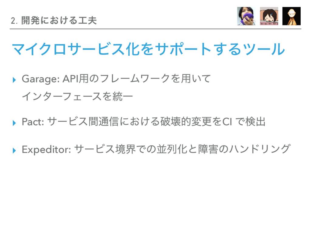 ϚΠΫϩαʔϏεԽΛαϙʔτ͢Δπʔϧ ▸ Garage: API༻ͷϑϨʔϜϫʔΫΛ༻͍ͯ ...