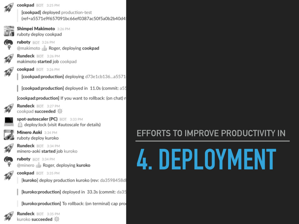 4. DEPLOYMENT EFFORTS TO IMPROVE PRODUCTIVITY IN