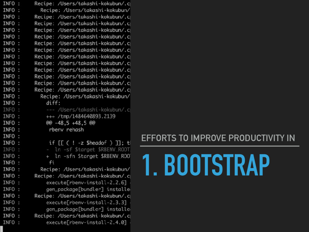 1. BOOTSTRAP EFFORTS TO IMPROVE PRODUCTIVITY IN