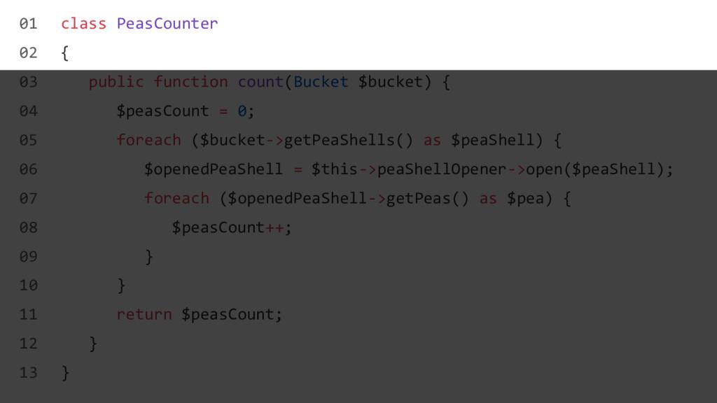 class PeasCounter { public function count(Bucke...