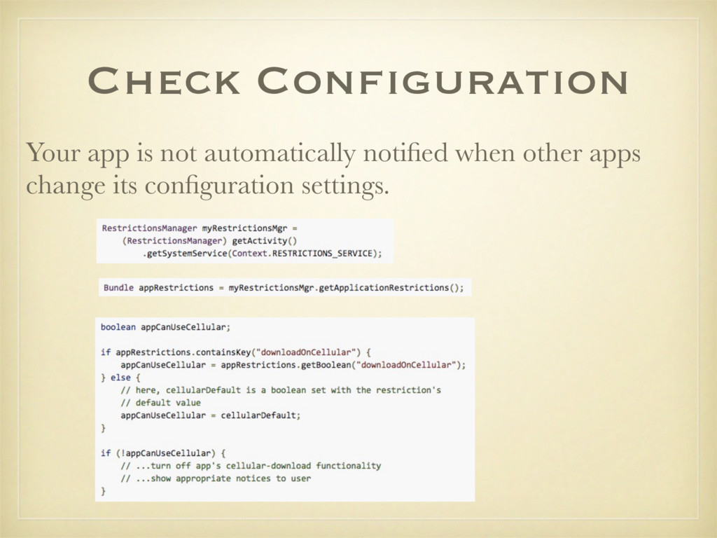 Check Configuration Your app is not automatical...