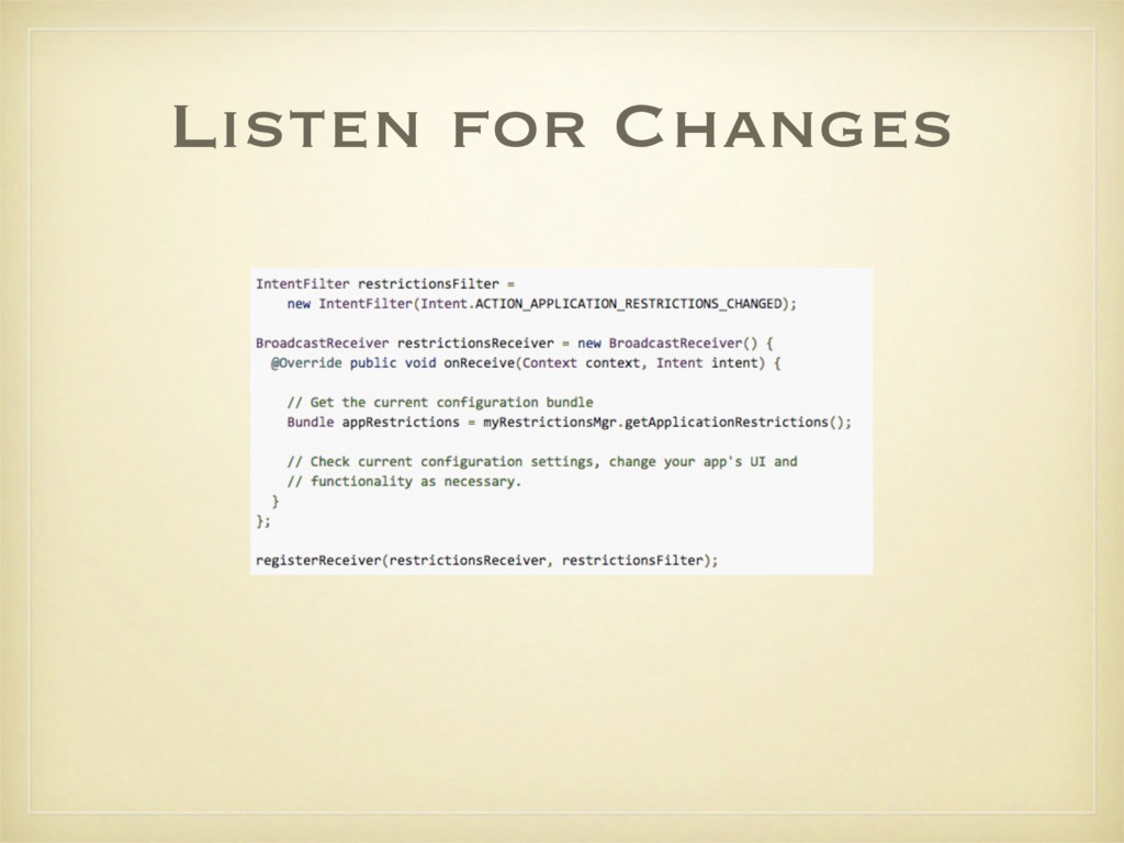 Listen for Changes