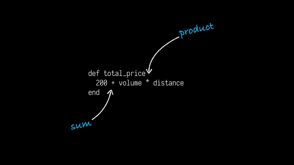 def total_price 200 + volume * distance end sum...