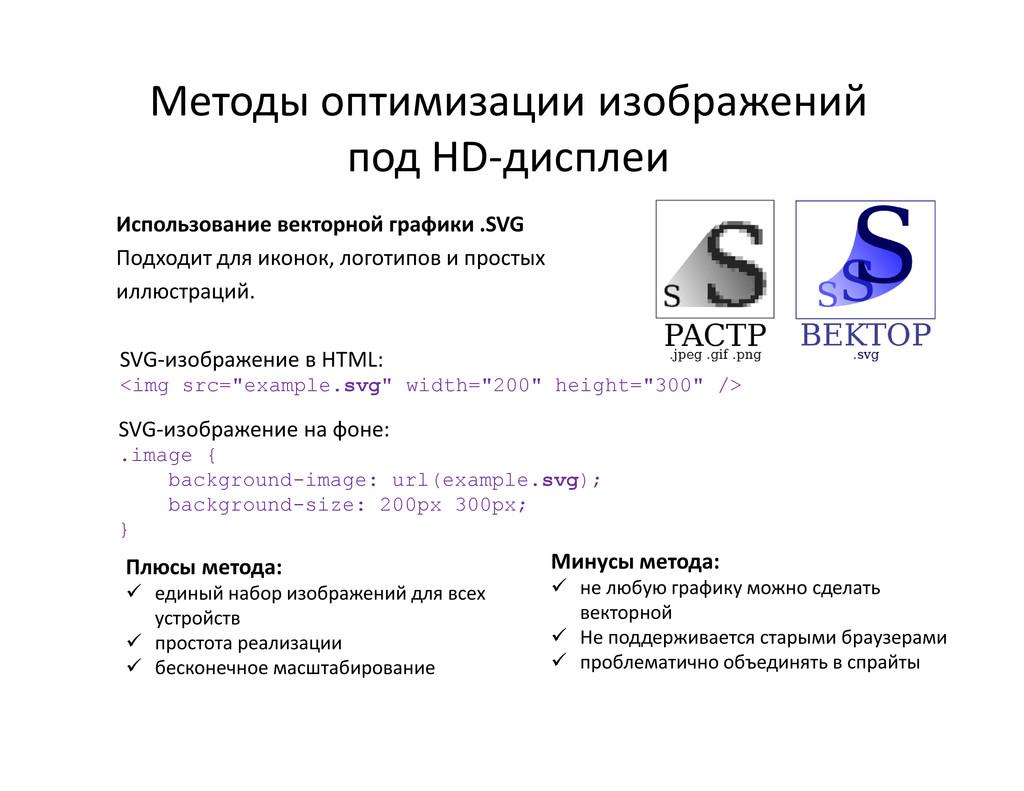 Использование векторной графики .SVG Подходит д...
