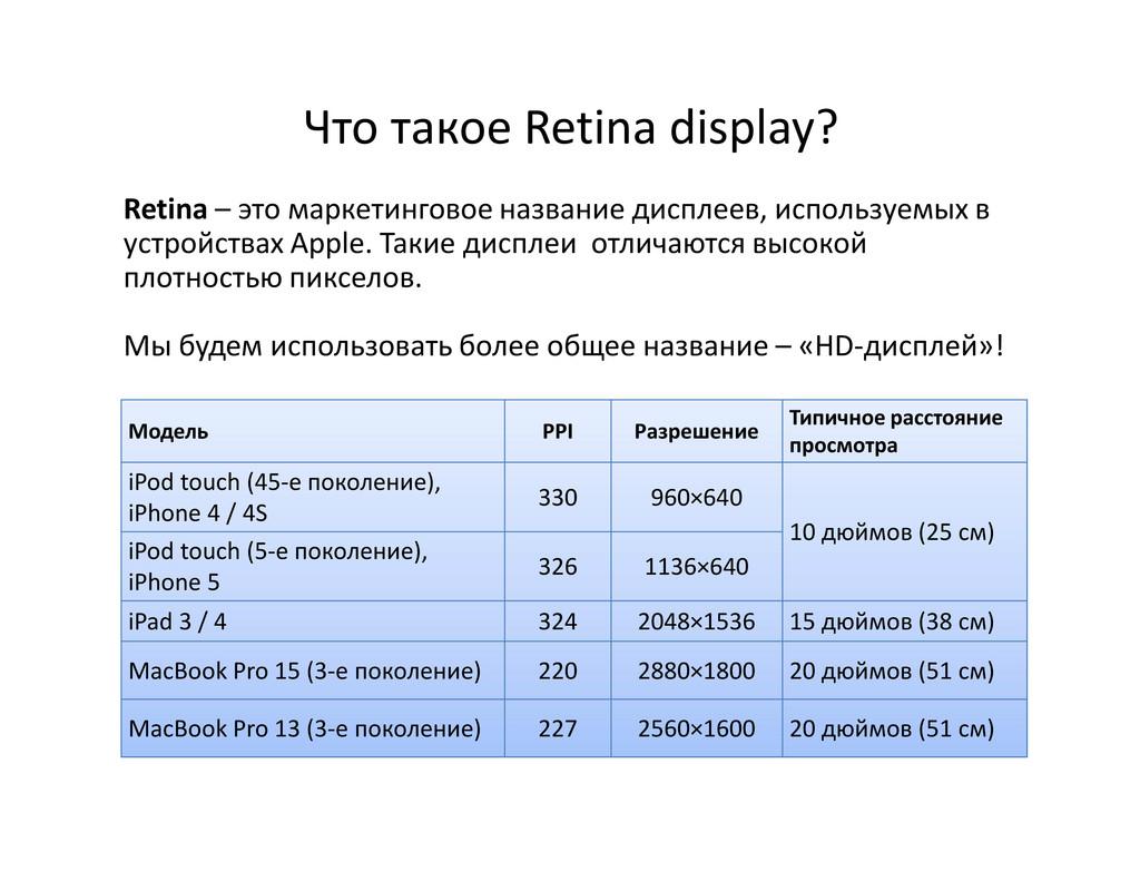 Что такое Retina display? Retina – это маркетин...
