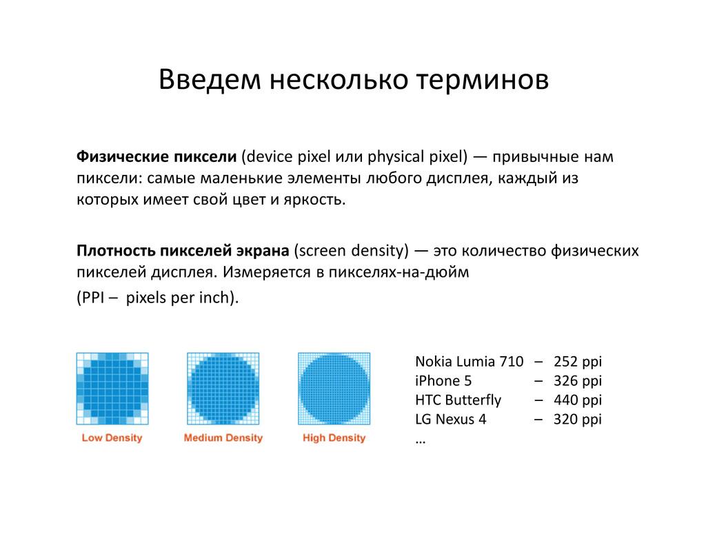 Введем несколько терминов Физические пиксели (d...