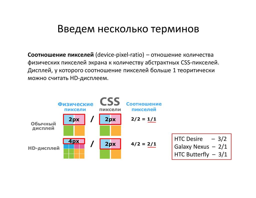 Введем несколько терминов HTC Desire – 3/2 Gala...