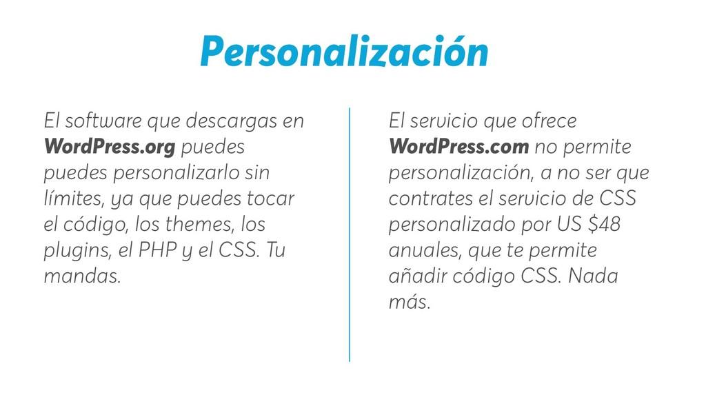 El servicio que ofrece WordPress.com no permite...