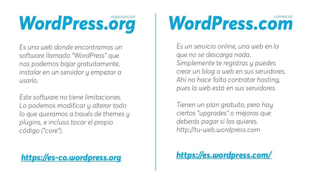 WordPress.org WordPress.com Es una web donde en...