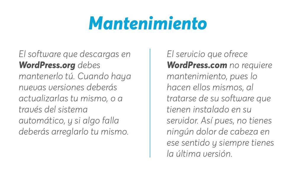 El servicio que ofrece WordPress.com no requier...