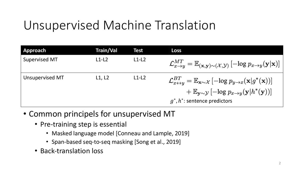 Unsupervised Machine Translation • Common princ...