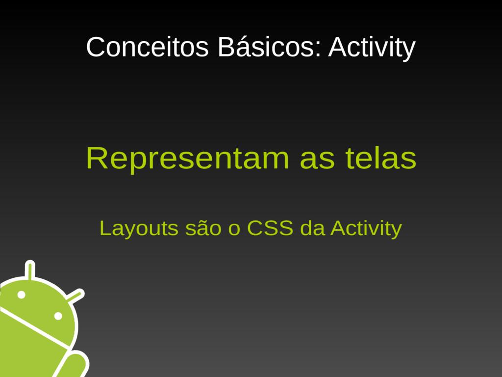 Conceitos Básicos: Activity Representam as tela...