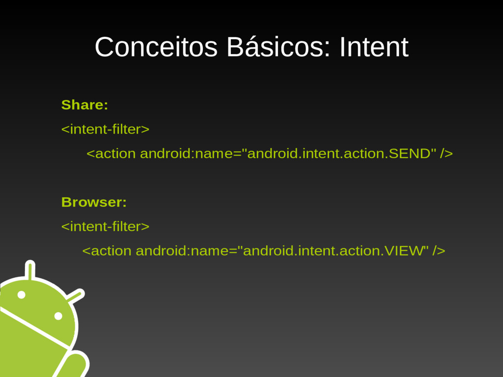 Conceitos Básicos: Intent Share: <intent-filter...