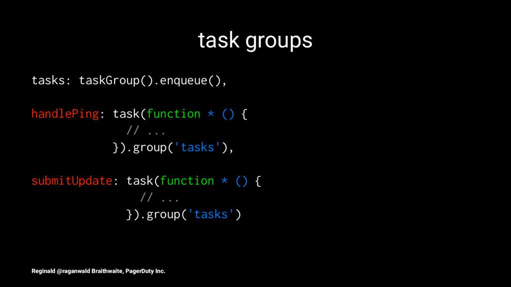 task groups tasks: taskGroup().enqueue(), handl...