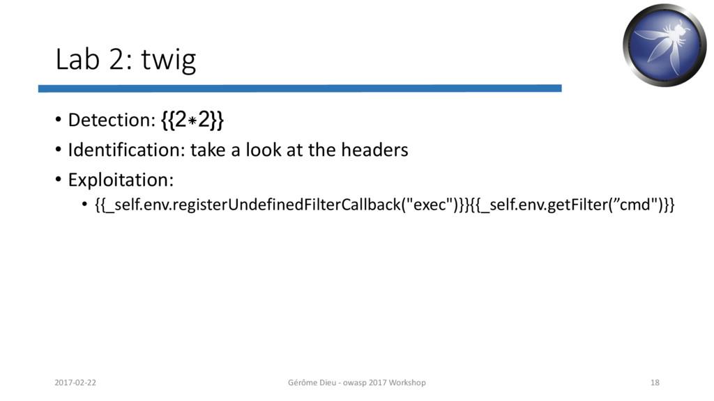Lab 2: twig • Detection: {{2*2}} • Identificati...