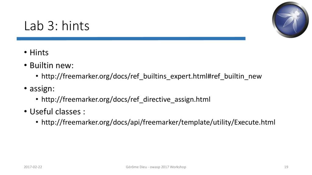 Lab 3: hints • Hints • Builtin new: • http://fr...
