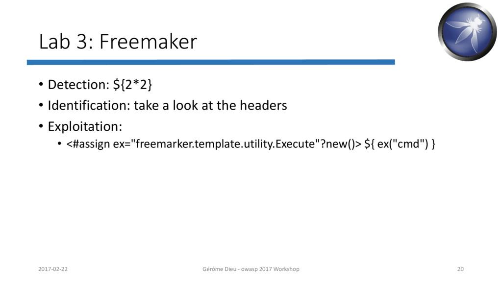 Lab 3: Freemaker • Detection: ${2*2} • Identifi...