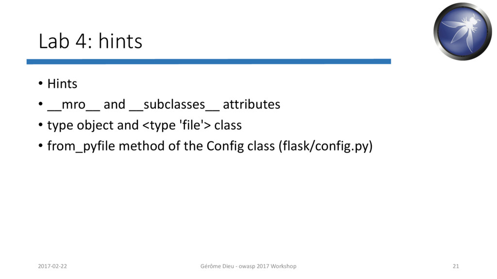 Lab 4: hints • Hints • __mro__ and __subclasses...