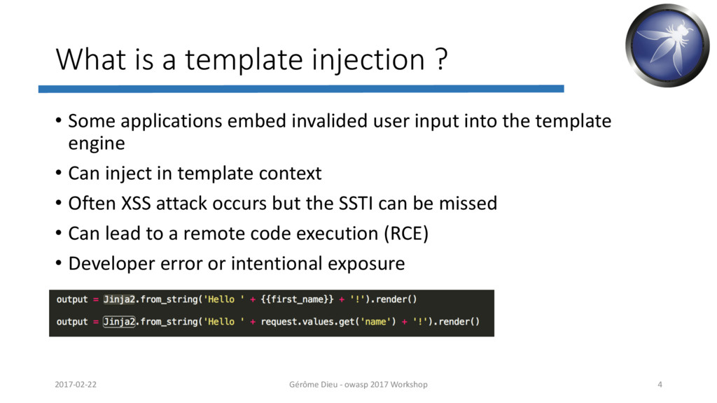 What is a template injection ? • Some applicati...