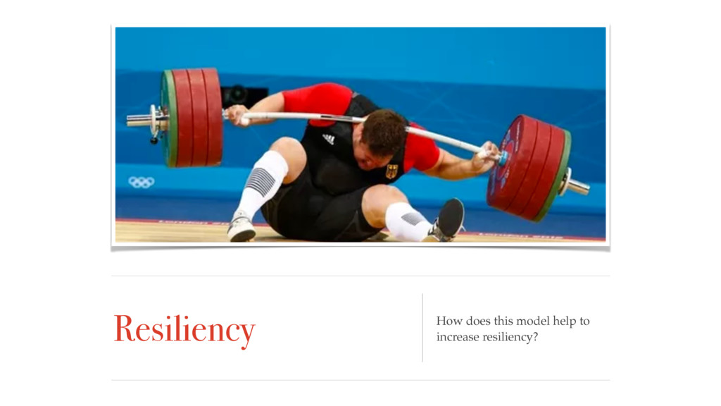 Resiliency How does this model help to increase...