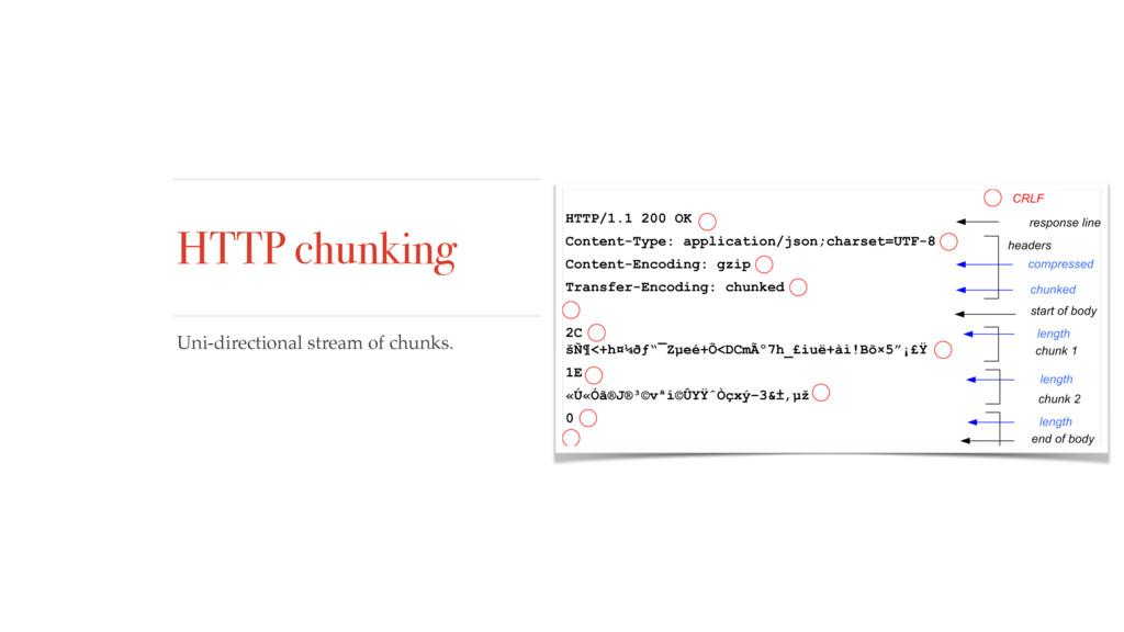 HTTP chunking Uni-directional stream of chunks.