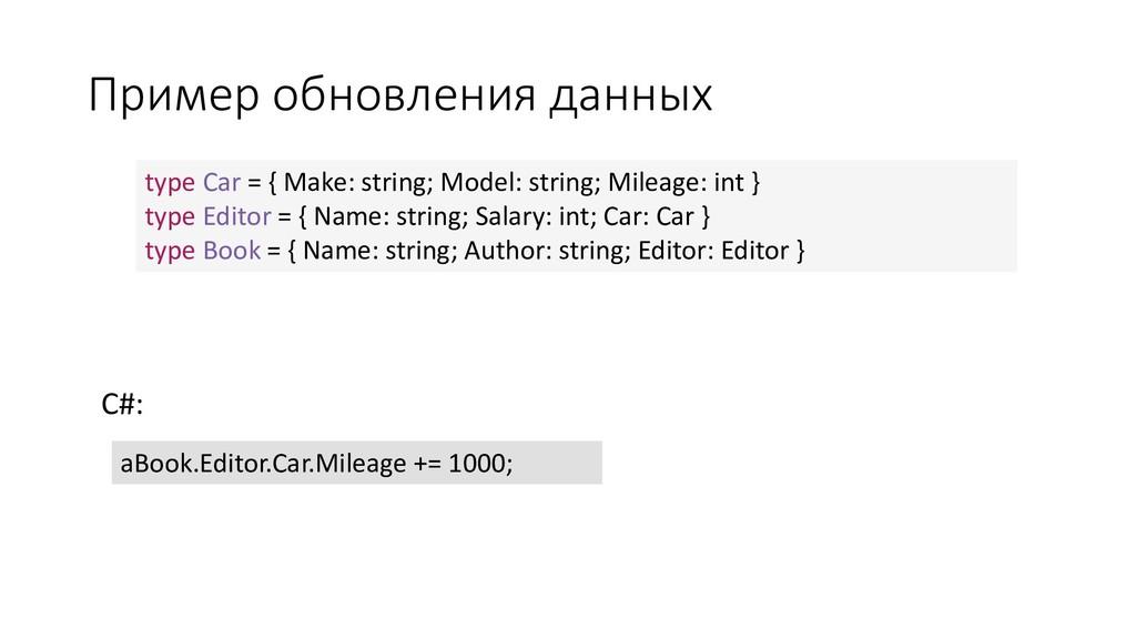 Пример обновления данных C#: type Car = { Make:...