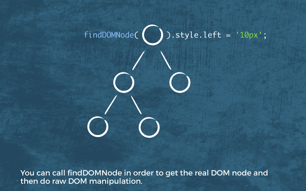 findDOMNode( ).style.left = '10px'; You can cal...