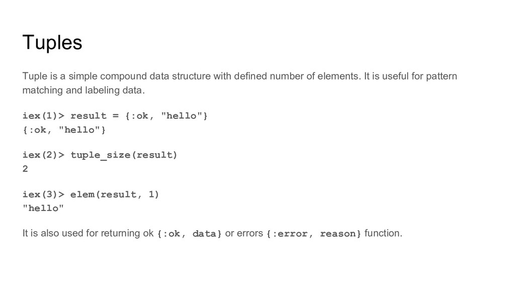 Tuples Tuple is a simple compound data structur...