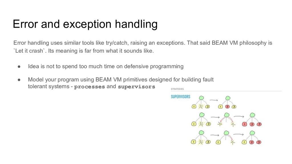 Error and exception handling Error handling use...