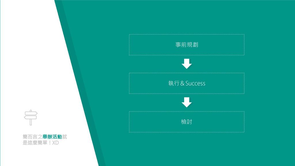 簡而言之舉辦活動就 是這麼簡單!XD 事前規劃 執行&Success 檢討