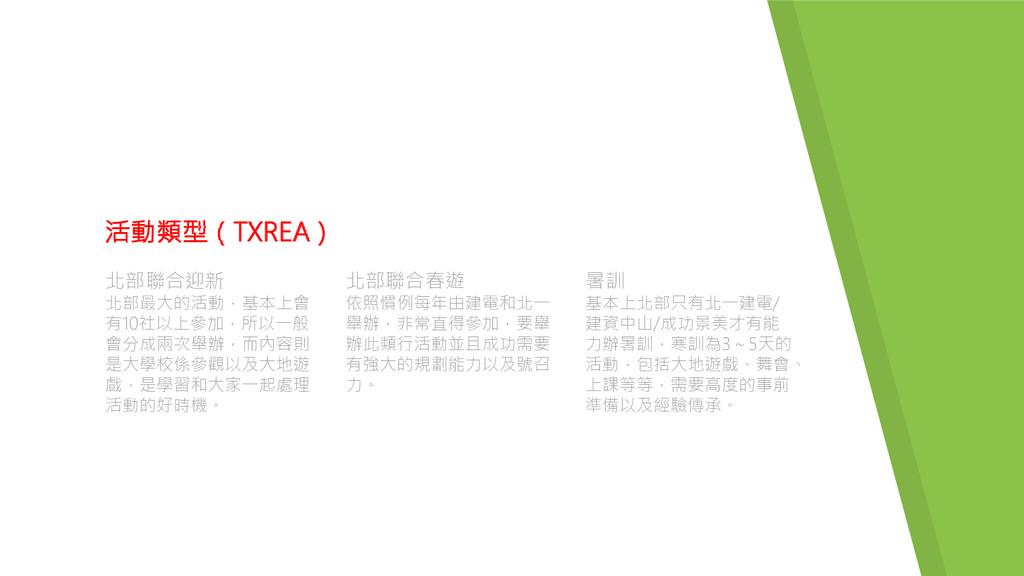 活動類型(TXREA) 北部聯合迎新 北部最大的活動,基本上會 有10社以上參加,所以一般 會...
