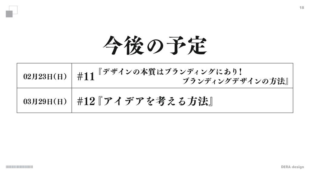 DERA-design 18 ࠓޙͷ༧ఆ ݄ ʢʣ ݄ ʢʣ  ...
