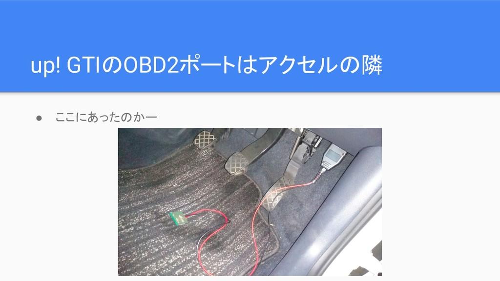 up! GTIのOBD2ポートはアクセルの隣 ● ここにあったのかー