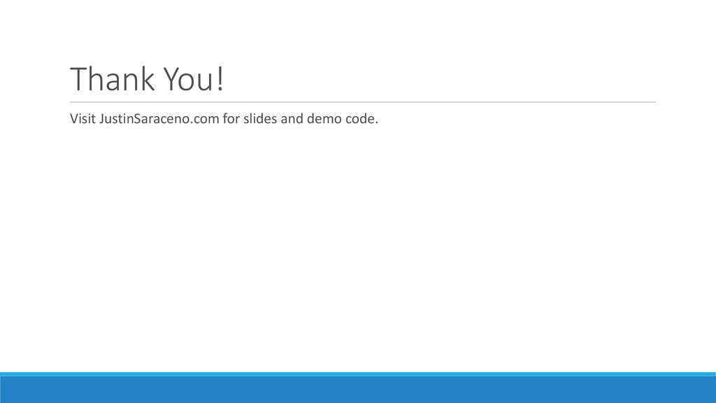 Thank You! Visit JustinSaraceno.com for slides ...
