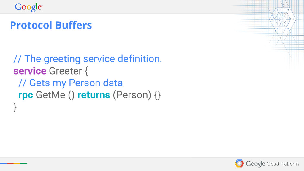 // The greeting service definition. service Gre...