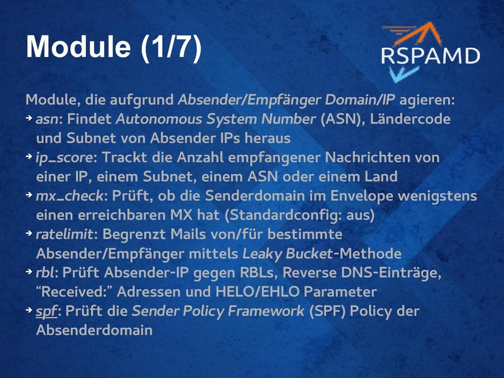 Module (1/7) Module, die aufgrund Absender/Empf...