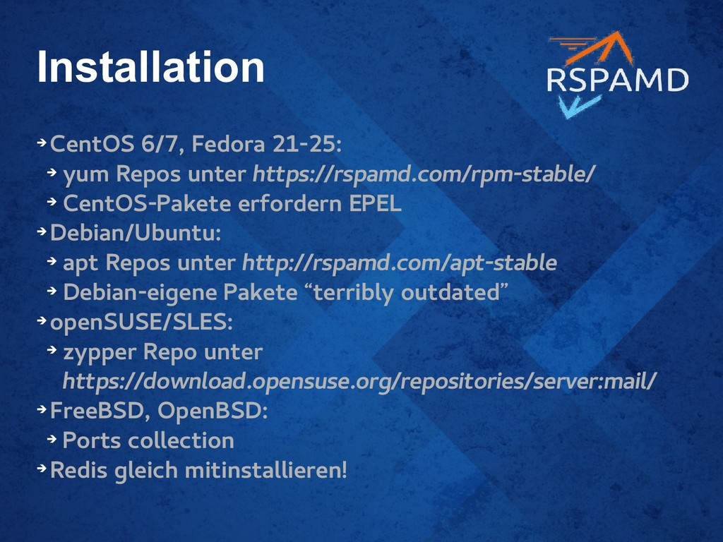Installation ➔ CentOS 6/7, Fedora 21-25: ➔ yum ...
