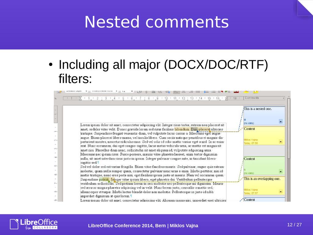 12 / 27 LibreOffice Conference 2014, Bern   Mik...