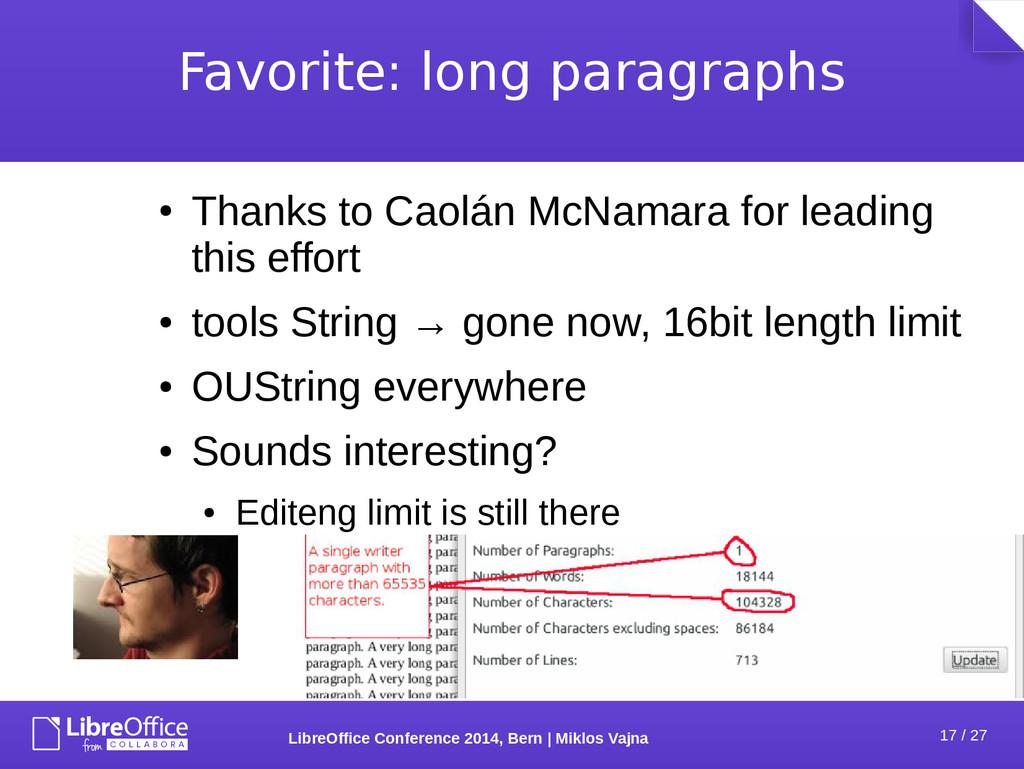 17 / 27 LibreOffice Conference 2014, Bern   Mik...