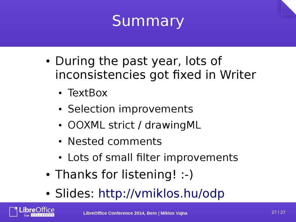27 / 27 LibreOffice Conference 2014, Bern   Mik...