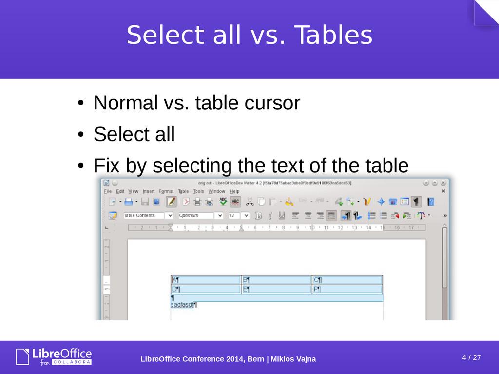 4 / 27 LibreOffice Conference 2014, Bern   Mikl...