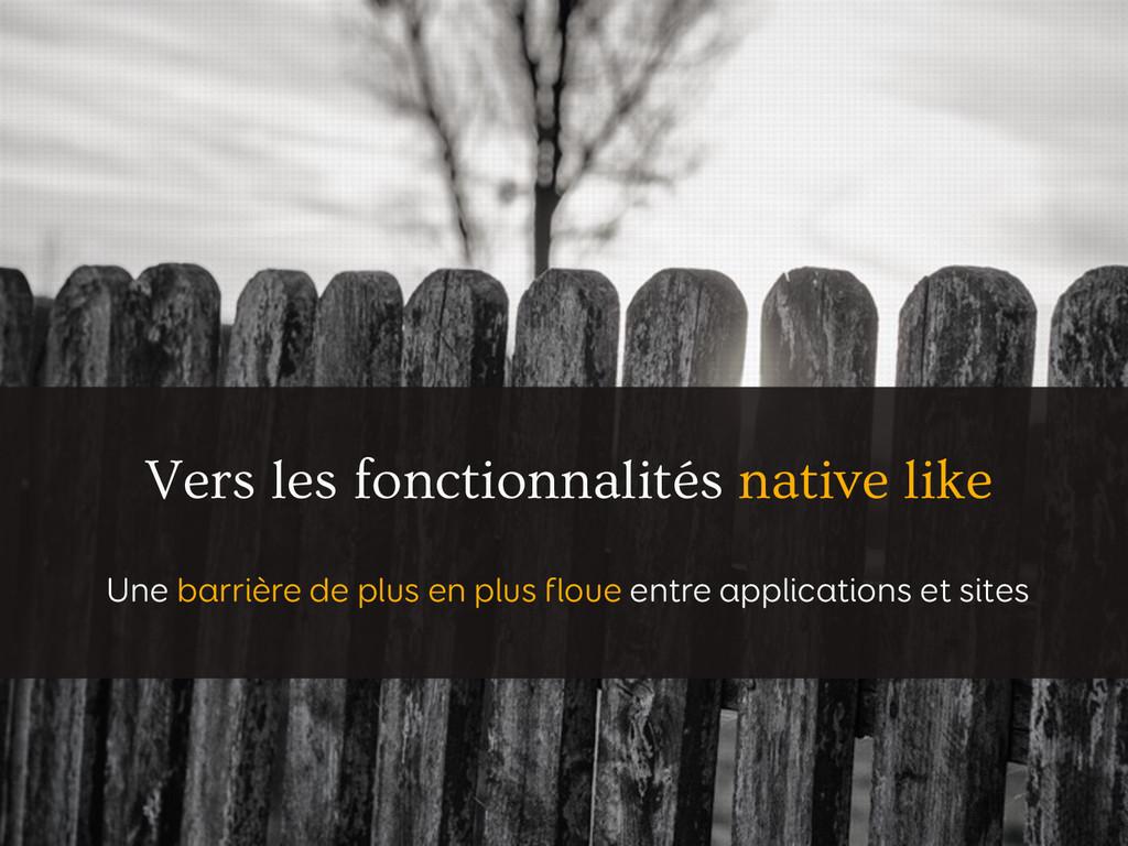 Vers les fonctionnalités native like Une barriè...