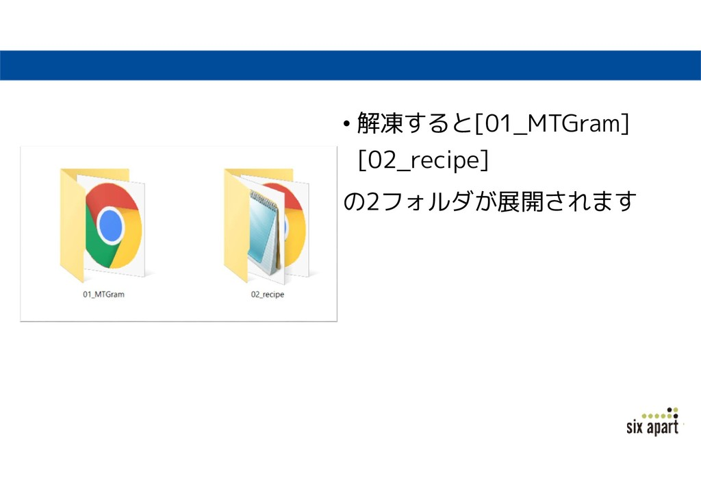 • 解凍すると[01_MTGram] [02_recipe] の2フォルダが展開されます