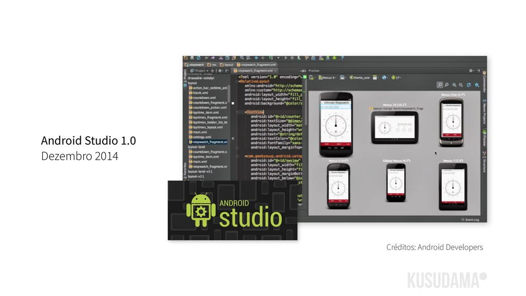 Créditos: Android Developers Android Studio 1.0...