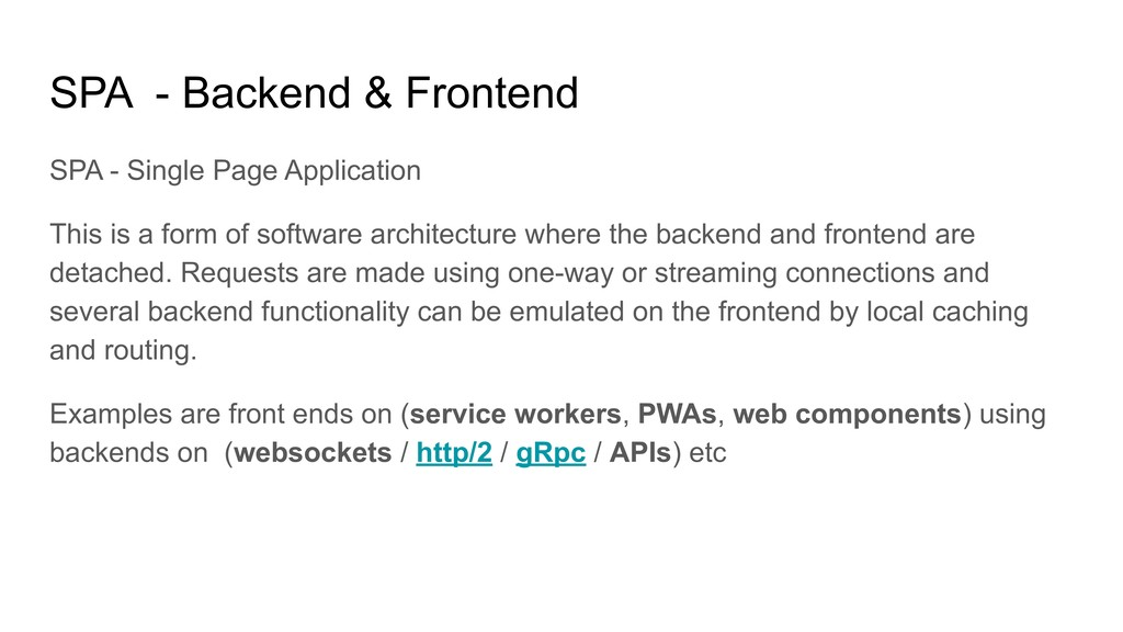SPA - Backend & Frontend SPA - Single Page Appl...