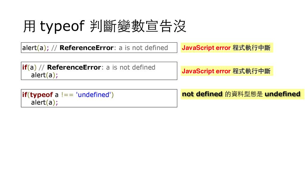 ⽤用 typeof 判斷變數宣告沒 alert(a); // ReferenceError: ...