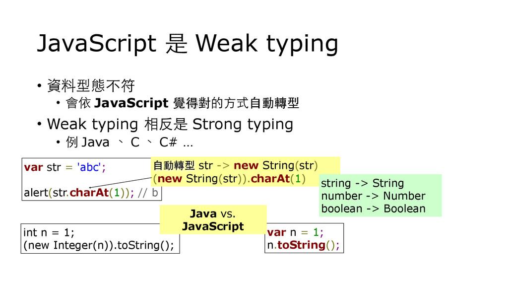 JavaScript 是 Weak typing • 資料型態不符 • 會依 JavaScri...