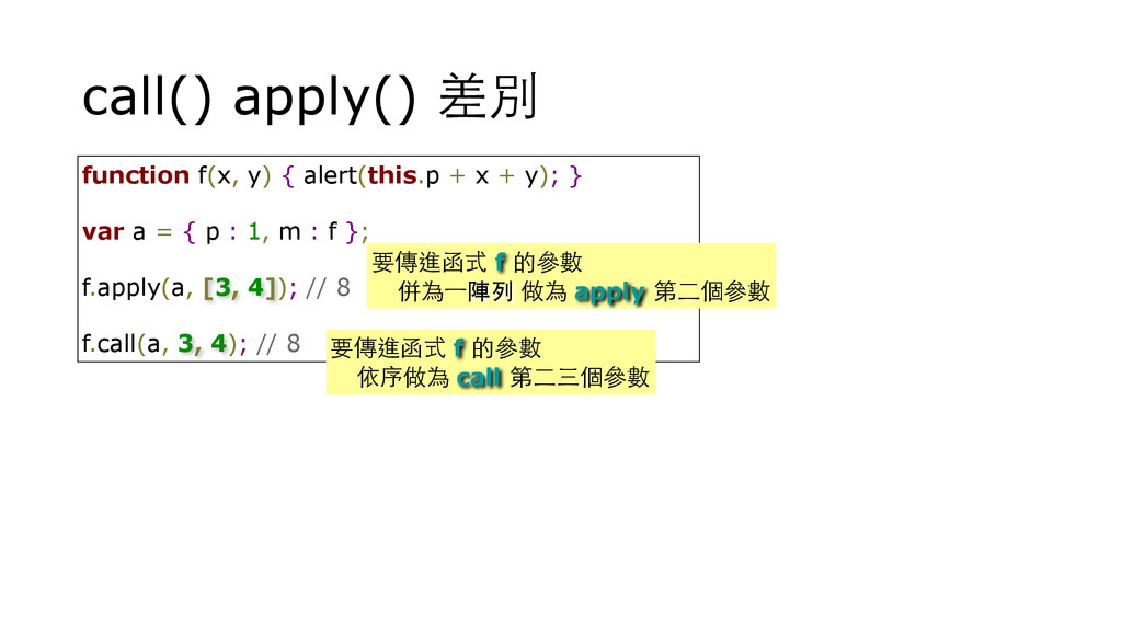 call() apply() 差別 function f(x, y) { alert(this...